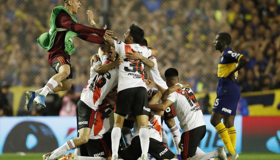 TIL FINALE: River Plate skal spille finale i Copa Libertadores etter å ha vunnet 2-1 sammenlagt over Boca Juniors. Foto: AP Photo / Natacha Pisarenko / NTB Scanpix