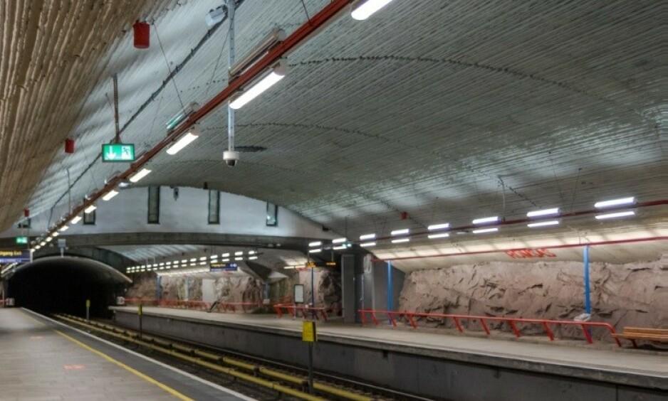 ROMSÅS: Det var på T-banestasjonen på Romsås at justisminister Jøran Kallmyrs (Frp) onkel ble overfalt. Foto: Sporveien