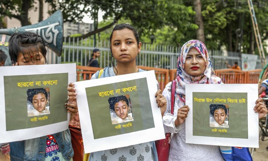 OPPRØRTE LANDET: Drapet på Nusrat Jahan Rafi (19) utløste sterke reaksjoner i Bangladesh. Rettssaken er gjennomført i rekordfart. Foto: Sazzad Hossain / AFP / NTB Scanpix