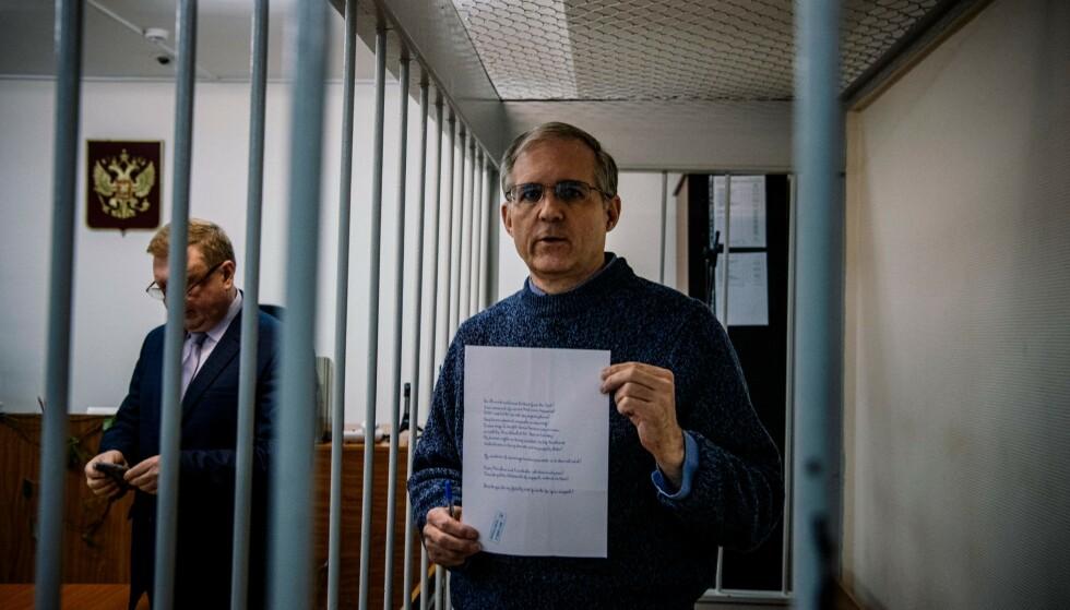I RETTEN: Amerikaneren Paul Whelan under rettsmøtet i Moskva torsdag. Foto: Dimitar DILKOFF / AFP