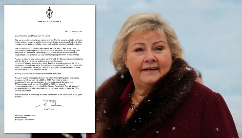 Erna i brev til EU:Skjerp klimamålene!