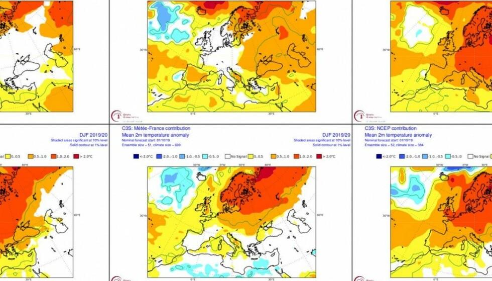 VARMT: Sesongprognosene viser at Norge kan vente seg en vinter som er to gradere varmere enn normalt. Foto: Cicero / Skjermdump