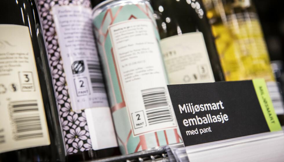 MERKET: Miljøsmart emballasje i ulike varianter er tydelig merket på polet. Foto: Foto: Katrine Lunke / Infinitum