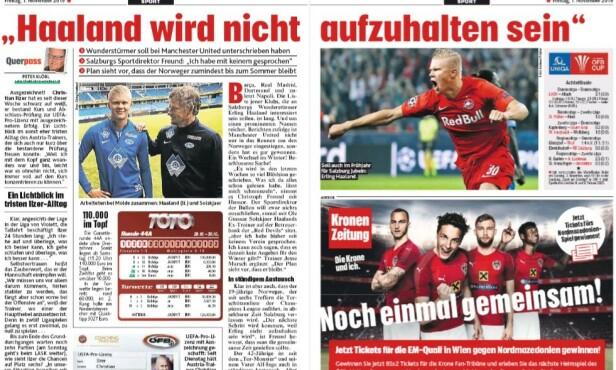 I OVERSKRIFTENE: Den østerrikske storavisa Kronen Zeitung vier en dobbeltside til Erling Braut Haaland fredag. - Haaland er ikke til å stoppe, heter det.