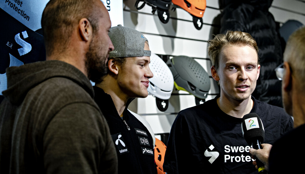 ALPINTRIO: Henrik Kristoffersen (t.h.) sammen med stjerneskuddet Lucas Pinheiro Braathen og Red Bull-sponsede Aksel Lund Svindal. Foto: Nina Hansen / Dagbladet