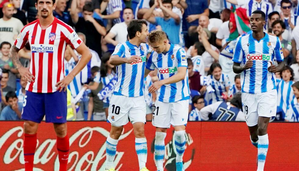 HENGER MED I TOPPEN: Real Sociedad tok tre nye viktige poeng søndag. Denne gang uten Martin Ødegaard, som er ute med skade. Foto: NTB/Scanpix