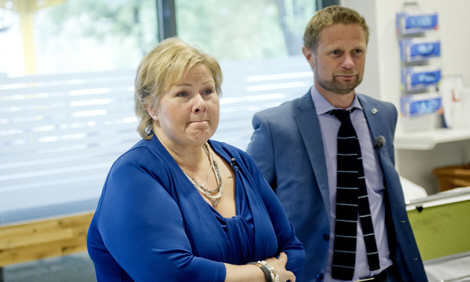 VIL STYRKE KUNNSKAPEN: Statsminister Erna Solberg og helseminister Bent Høie varsler økt innsats for å utjevne kjønnsforskjeller i helsetilbudet. Foto: Jon Olav Nesvold / NTB Scanpix