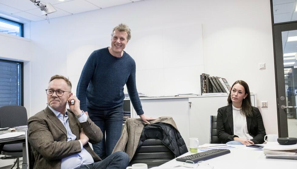 FIKK NEI: Tidligere sjefredaktør i Dagbladet John Arne Markussen (til venstre), konsernsjef i Aller Dag Sørsdahl, og økonomidirektør i Aller Anette Nordskog. Dagbladet Pluss fikk nei på søkneden om pressestøtte. Foto: Skjalg Bøhmer Vold/Dagbladet