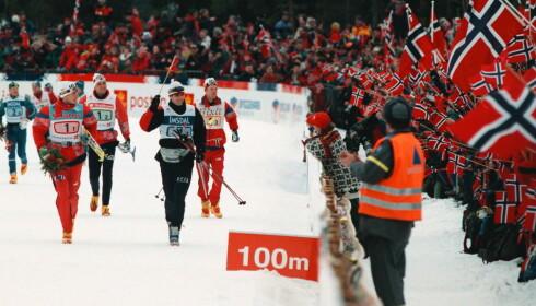 Gull i Granåsen: Norske skihelter hylles under ski-VM i Granåsen i 1997. Foto: Tom E Østhuus/ Dagbladet