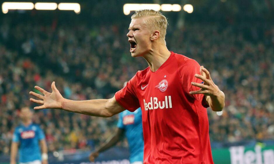 TOPPSCORER: Erling Braut Haaland er om dagen toppscorer i Champions League. Foto: STRINGER / various sources / AFP / NTB Scanpix