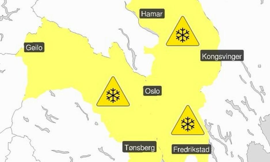 FAREVARSEL: Meteorologisk Institutt har sendt ut gult farevarsel for Vestfold. Østfold, Akershus, Buskerud, Oslo og Hedmark. Foto: Meteorologisk Institutt