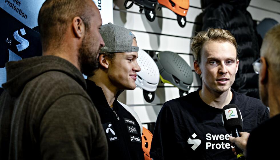 STJERNETRIO: Aksel Lund Svindal, Lucas Pinheiro Braathen og Henrik Kristoffersen. Foto: Nina Hansen / Dagbladet