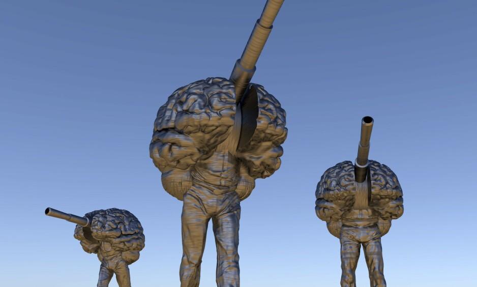 NYE VÅPEN: Disse tre robotene er illustrasjoner på robotvåpen, eller såkalte dødelige autonome våpensystem, som mange frykter kan bli en del av krigføringa i framtida. Illustrasjonen kombinerer et menneske, et våpen og en hjerne. Foto: Science Photo Library