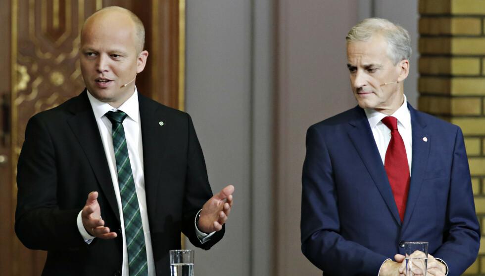 AVGIFTSGAP: - Folk får velge i valg. Med Sp i regjering skal avgiftene ned. Vi hadde god påvirkning på Ap da vi satt i regjering sist. Da var avgiftsnivået 6, 3 milliarder lavere enn nå, sier Trygve Slagsvold Vedum. Sp vil senke avgiftsnivået med 3, 8 milliarder, mens Ap og Jonas Gahr Støre vil gå motsatt vei. Foto: Bjørn Langsem/Dagbladet