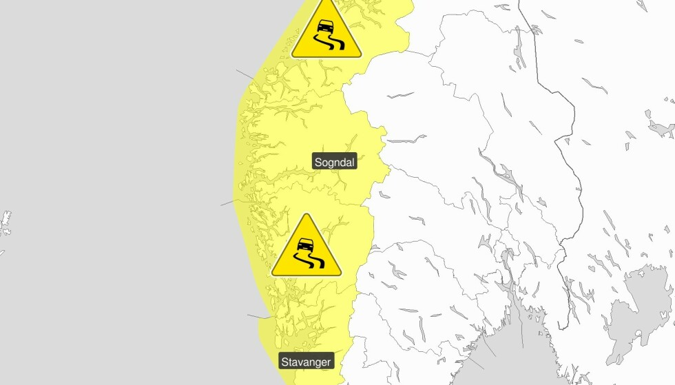 FAREVARSEL: Meteorologisk institutt advarer mot glatte veier i store deler av Sør-Norge. Foto: Meteorologisk institutt / Skjermdump