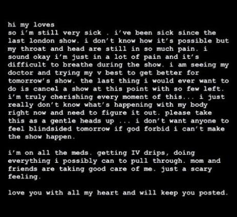 SYK: I et innlegg på Instagrams historiefunksjon, advarer Ariana Grande fansen om at hennes kommende konsert kanskje må avlyses på grunn av sykdom. Foto: Skjermdump, Instagram / @arianagrande