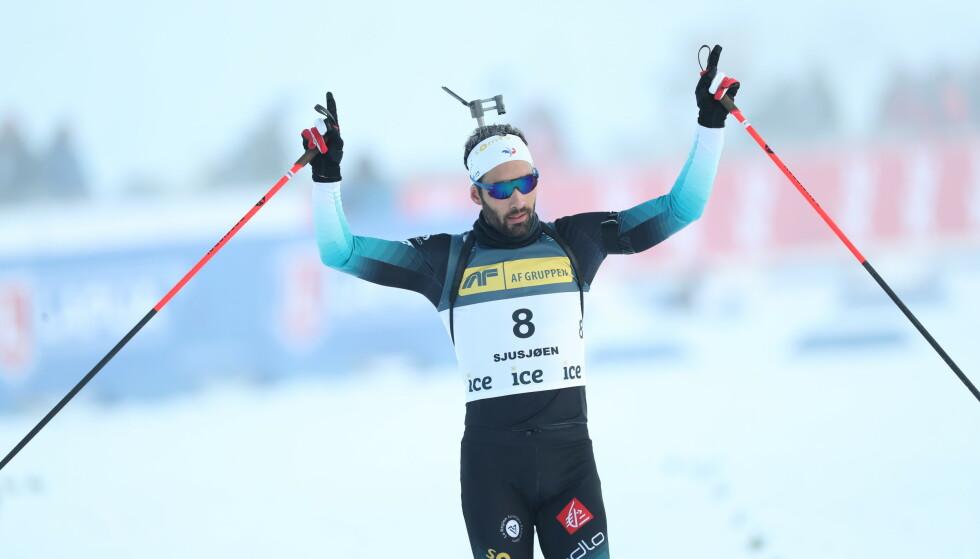 SEIRET: Martin Fourcade gikk til topps på Sjusjøen. Foto: Geir Olsen / NTB scanpix