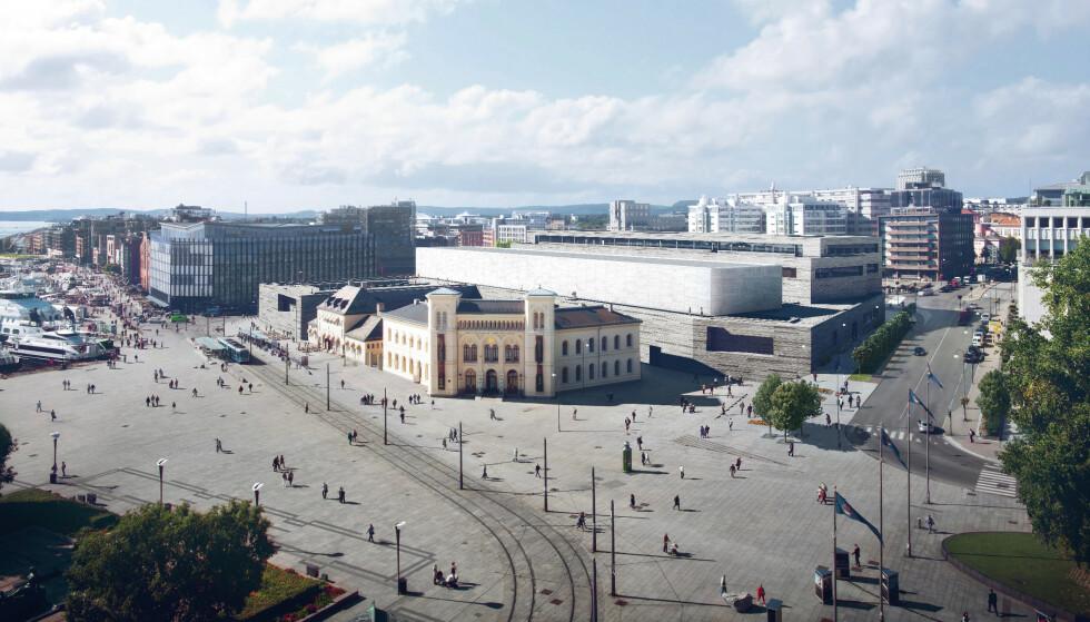 SLIK SKAL DET BLI: Etter planen skulle publikum få komme inn i det nye Nasjonalmuseet neste høst. Nå må de vente et halvt år til. Foto: MIR (illustrasjon), Statsbygg / Kleihues + Schuwerk
