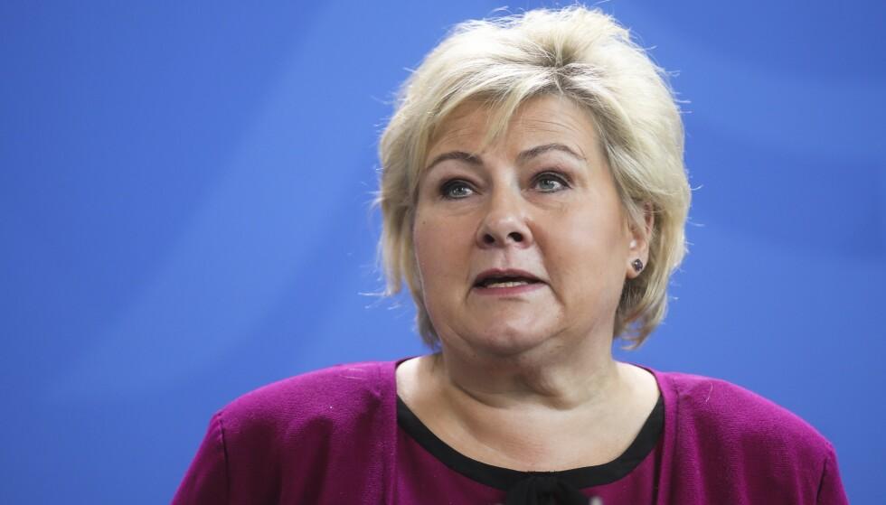 FÅR KRITIKK: Statsminister Erna Solberg får ramsalt kritikk fra Unge Høyre for oljepolitikken som regjeringen hennes fører. Foto: Terje Pedersen / NTB scanpix