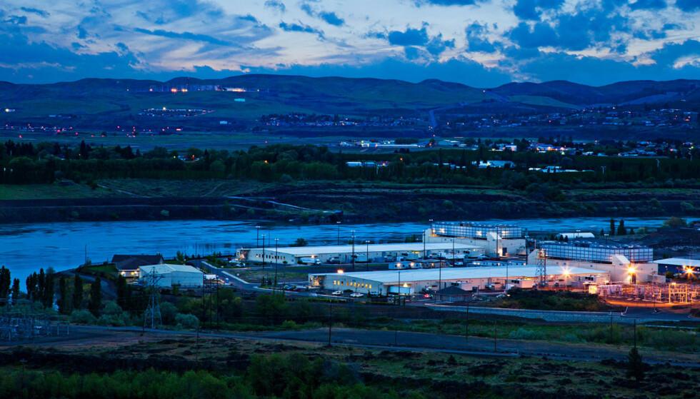 MASSELAGRING: The Dalles Data center i Oregon, USA, er ett av Googles åtte gigantsentre spredt rundtom i verden. Foto: NTB Scanpix/Google