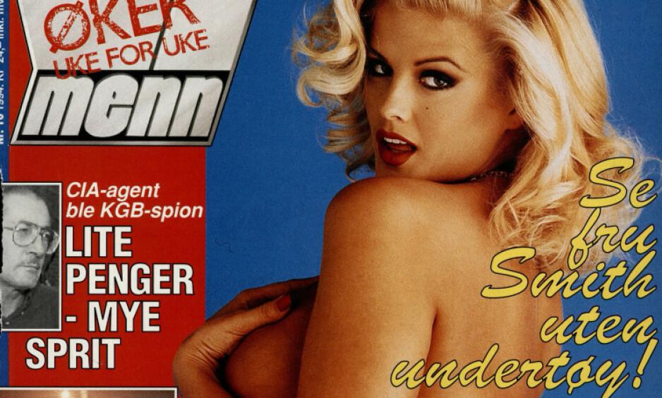 FORSVINNER: I løpet av 2020 fases spalten «Vi Menn-piken» ut av det populære ukebladet. Her med modell Anna Nicole Smith på forsiden, og teksten «Se fru Smith uten undertøy». Faksimile: Vi Menn