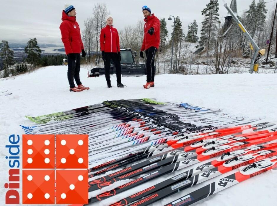 FELLESKI: I år er det felleskiene for «folk flest» som er testet av Dinside og ekspertene i Skiforeningen. Det er merkene Fischer, Madshus, Rossignol og Salomon som har fått bryne seg i Holmenkollen i slutten av november. Foto: Berit B. Njarga