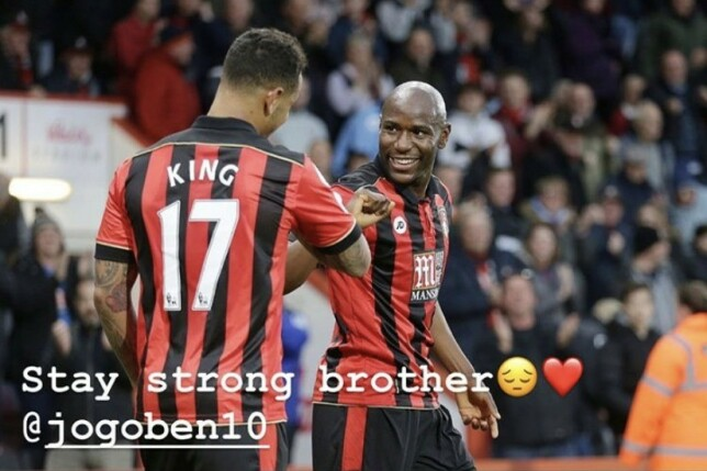 TIDLIGERE LAGKOMPISER: Joshua King spilte med Benik Afobe i to sesonger. Foto: Skjermdump / iamjoshuaking / Instagram