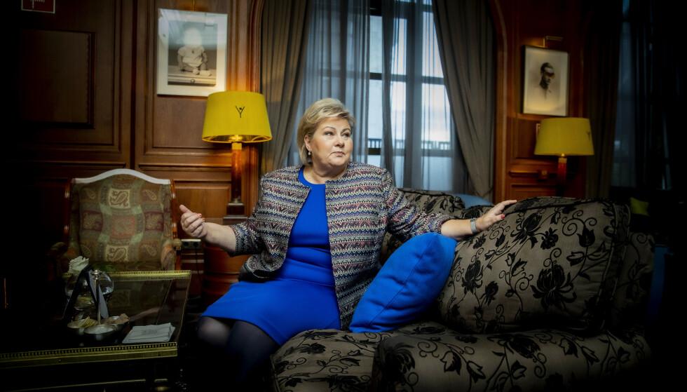 NATO-ENTUSIAST: Erna Solberg sier forsvarssamarbeidet i Nato er sterkt. Det er det politiske samarbeidet som utfordrer samholdet. Foto: Bjørn Langsem / Dagbladet
