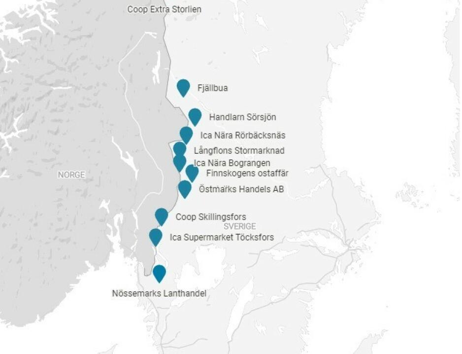 TILFELDIG?: Gjennom sitt nettverk av såkalte ombud, den svenske pol-i-butikk-ordningen, har utleveringsstedene lagt seg strategisk til langs norskegrensen. Illustrasjon: Kjell Erik Berg
