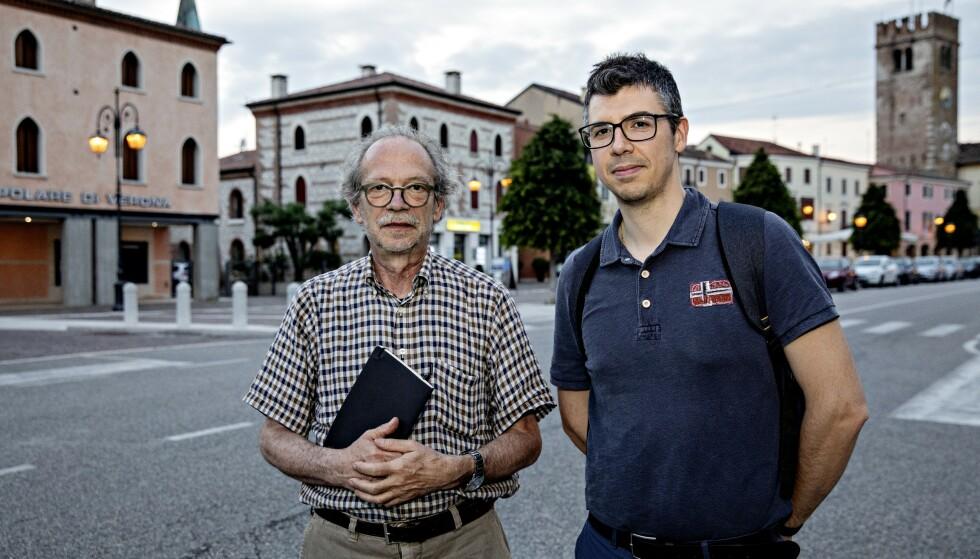 SJOKKFUNN: Paolo Girardi (t.h.) og Enzo Merler snakket med Giovanni Costa mens de undersøkte Miteni-arbeiderne. De fant astronomiske PFOA-verdier. Foto: Nina Hansen
