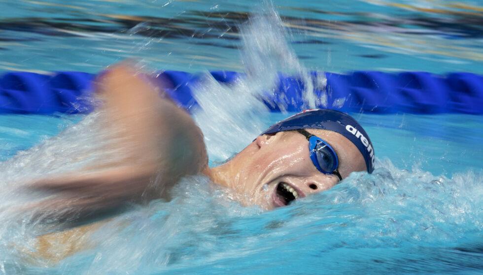 SKUFFENDE: Henrik Christiansen ble nummer seks på 400 meter fri. Foto: Jessica Gow/TT / NTB scanpix