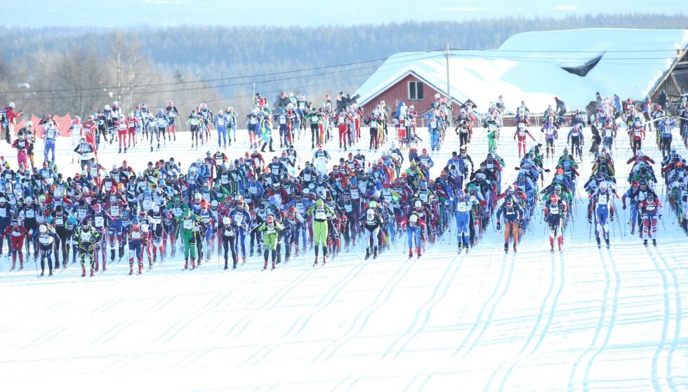 Gir større fart: Titusenvis av mosjonsløpere og konkurranseløpere har brukt fluor under skiene. Her fra Birkebeinrrennet. Foto: Geir Olsen / NTB scanpix