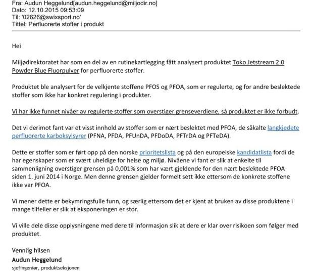 Brevet: Denne e-posten sendte Miljøverndirektoratet til Swix Sport i oktober 2015. Faksimile: Miljøverndirektoratet