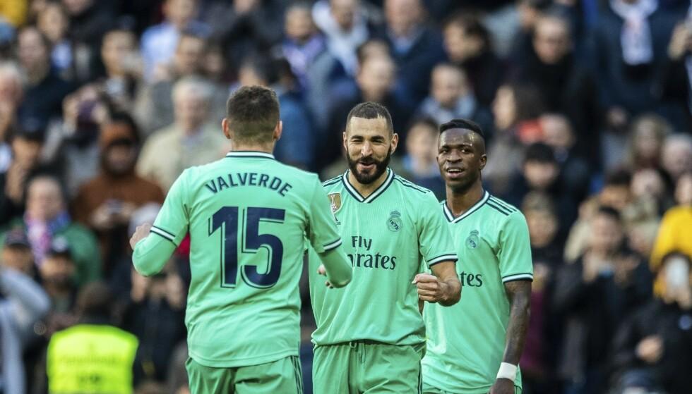 VANT: Karim Benzema sendte Real Madrid til tabelltoppen. Foto: AP Photo / Bernat Armangue / NTB Scanpix