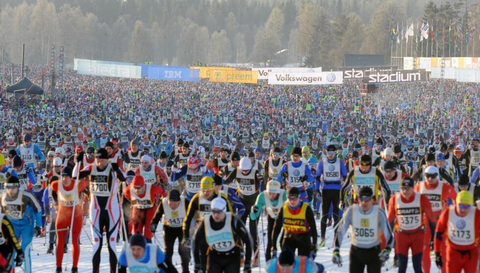Ski-stim: I snøen etter Vasaloppet, med 30 000 deltakere, fant man store mengder fluor. I testløypa til Norgescuprennet i Nannestad, med bare 1000 deltakere, fant man enda mer fluor i snøen. Foto: Shutterstock editorial