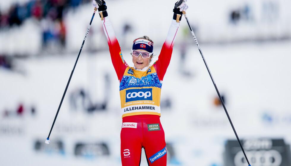 NY SEIER: Therese Johaug kunne juble for nok en verdenscupseier i Davos. Her fra Lillehammer forrige helg. Foto: Stian Lysberg Solum / NTB scanpix