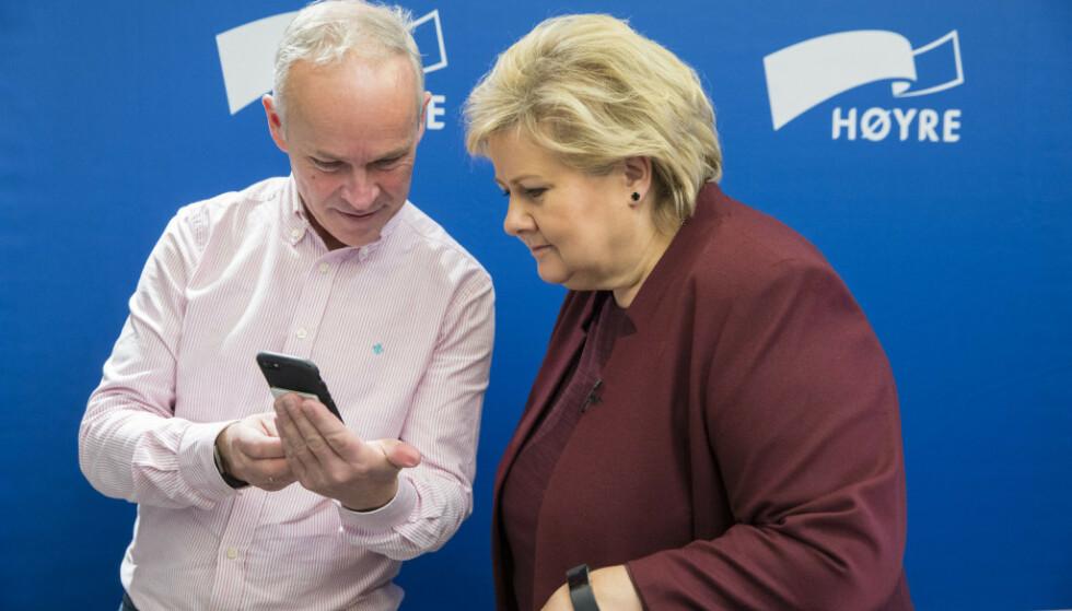 PISA: Kunnskapsminister Jan Tore Sanner og statsminister Erna Solberg har fått PISA-resultatene for 2019. Foto: Vidar Ruud / NTB scanpix