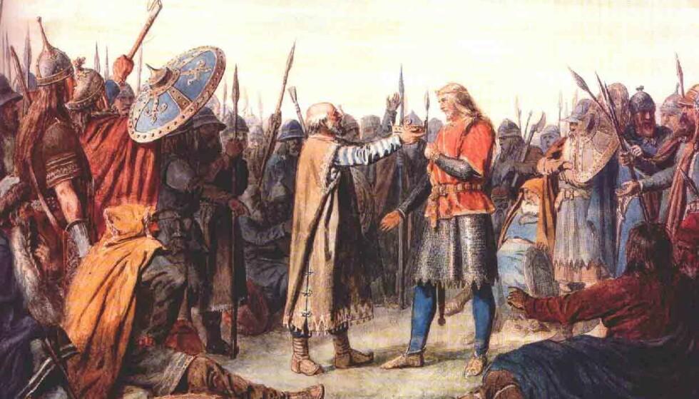 SAGNOMSUST: Olav Tryggvason. Maleri av Peter Nicolai Arbo. Foto: WIKIPEDIA