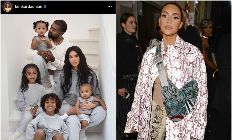 SPESIELL DETALJ: I år overrasket Kim Kardashian West ved å dele sitt eget julekort med ektemannen Kanye West og deres fire barn. Nå røper firebarnsmoren at ikke alt gikk på skinner da julebildet skulle tas. Foto: Skjermdump fra Instagram/ NTB Scanpix
