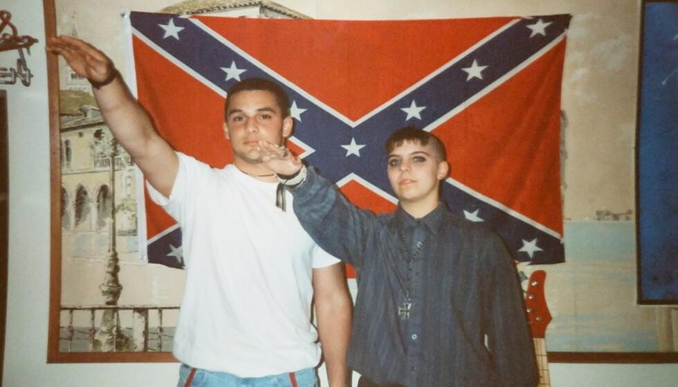 KJENTE NAZISTER: Både Christian Picciolini (t.v.) og Shannon Foley Martinez er tidligere nynazister. Her avbildet på begynnelsen av 1990-tallet. I dag er begge svært aktive i arbeidet med å få andre ut av hatgrupper. Foto: Privat