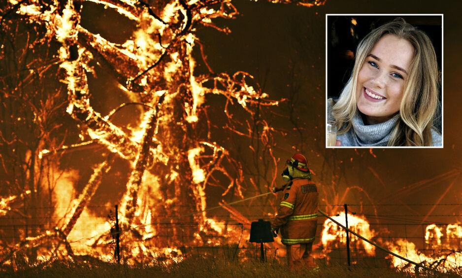 I AUSTRALIA: 20 år gamle Agnes Almér bor i Sydney. Rundt henne herjer skogbrannene. Foto: Privat