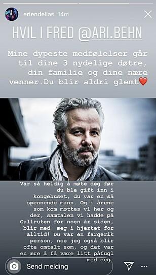 GODE ORD: Erlend Elias er en av mange som har uttrykt sin sorg over dødsfallet til Ari Behn. Foto: Skjermdump fra Instagram