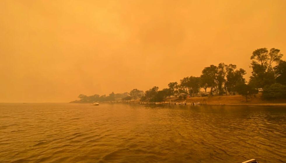 EVAKUERES: Flammene har omringet den lille byen Mallacoota de siste dagene.Torsdag kom den australske marinen de 4.000 menneskene i byen til unnsetning. Foto: Courtesy of George Mills / Social Media via REUTERS / NTB scanpix