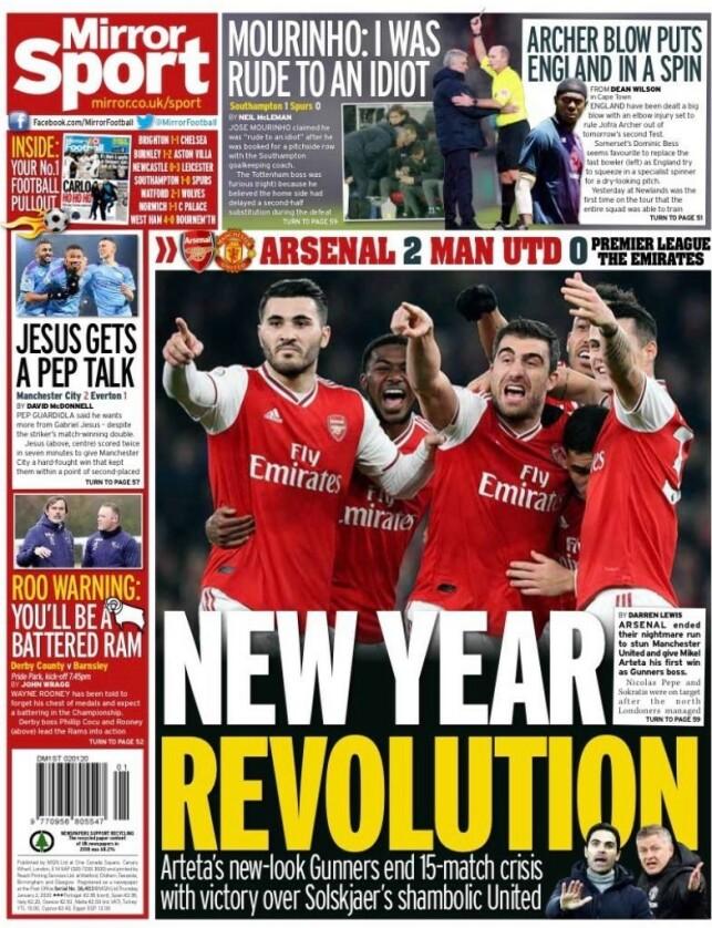 DAILY MIRROR: Arsenal hylles for sin revolusjon under den nye treneren, Mikel Arteta. Ole Gunnar Solskjær og Manchester United slaktes på trykk i Daily Mirror i dag.