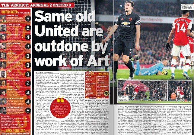 UTSPILT: - Samme gamle United ble utmanøvrert av et stykke kunst, skriver Manchester Evening News i dag. Og spiller på etternavnet til manager Mikel Arteta.
