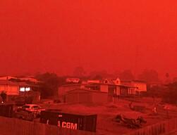 GLØDET: Plutselig ble himmelen knall oransje i kystbyen Mallacoota i Victoria i Australia. Byen har vært herjet av brannene. Foto: Reuters / NTB Scanpix
