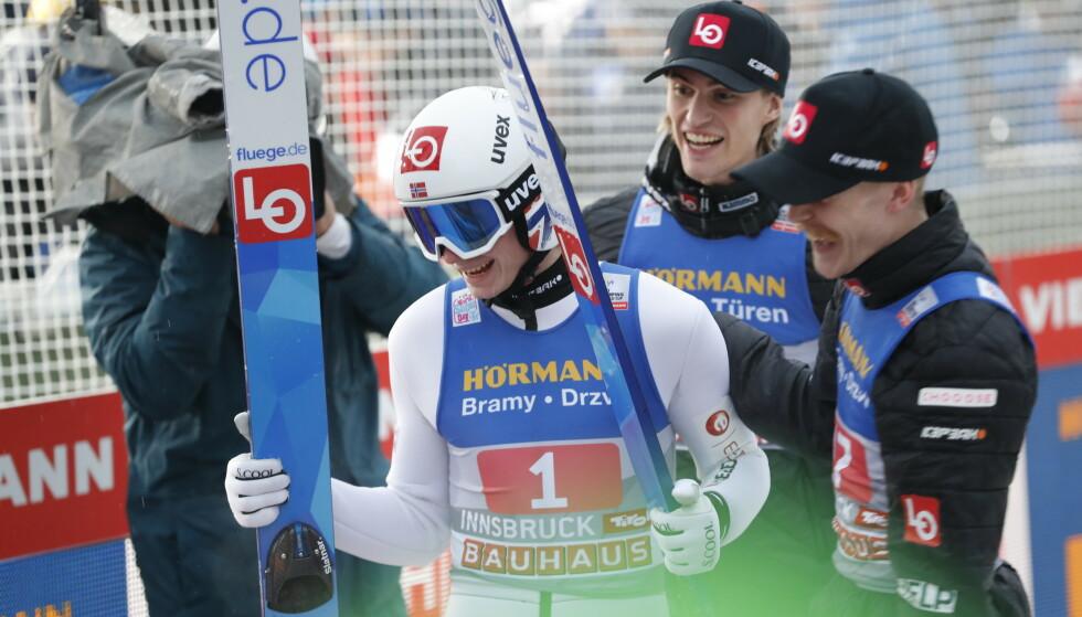 VANT IGJEN: Marius Lindvik vant i sitt andre hopprenn på rad i hoppuka. Foto: Geir Olsen / NTB scanpix