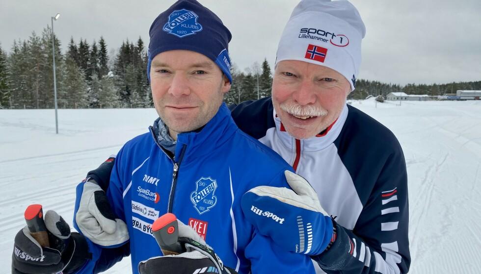 FAR OG SØNN PÅ SKI: Morten Hjemseth (til venstre) og Ivar Hjelmseth opplevde begge å få hjerteinfarkt i skiløypa. De mener begge at aktivitet og trening er viktig etter en slik opplevelse. Selv om pappa Ivar har sluttet å gå Birken, er sønnen Morten fremdeles med i «gamet». Foto: Kristin Roset