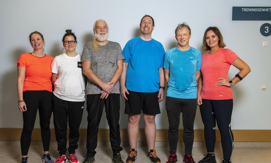 ETTER SJU UKER: Fra venstre: Lena D. Aarvik, Ingrid og Erik Jakobsen (far og datter), Jakob Krogsrud og ekteparet Stig og Ann Kristin Bakken. Foto: Lars Eivind Bones