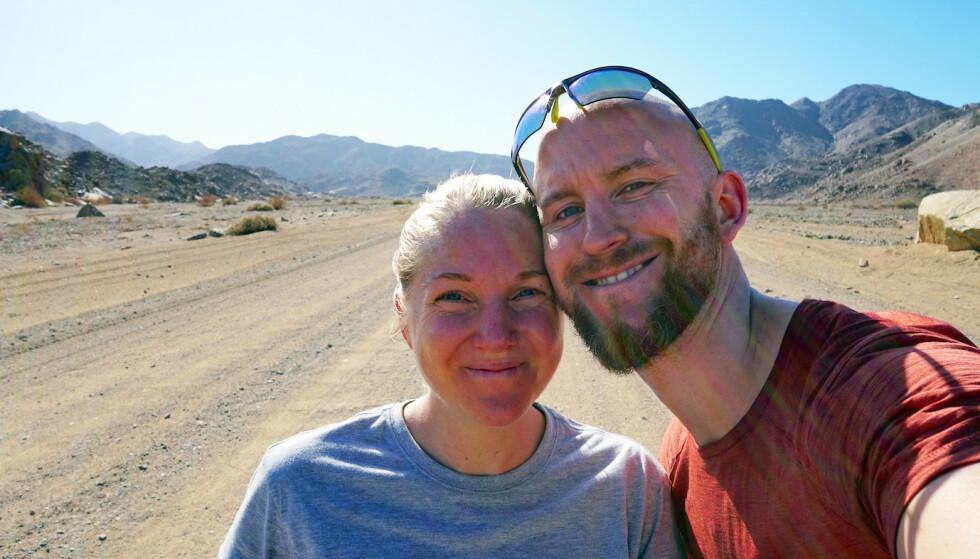 JORDEN RUNDT: Paret skulle reise jorden rundt uten motor. Da de dro på bryllupsreise syklet de fra Nordkapp til Cape Town. Foto: Privat